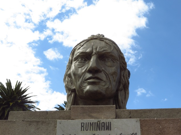 A statue of Rumiñawi, an Incan general in the 16th century who resisted the Spanish